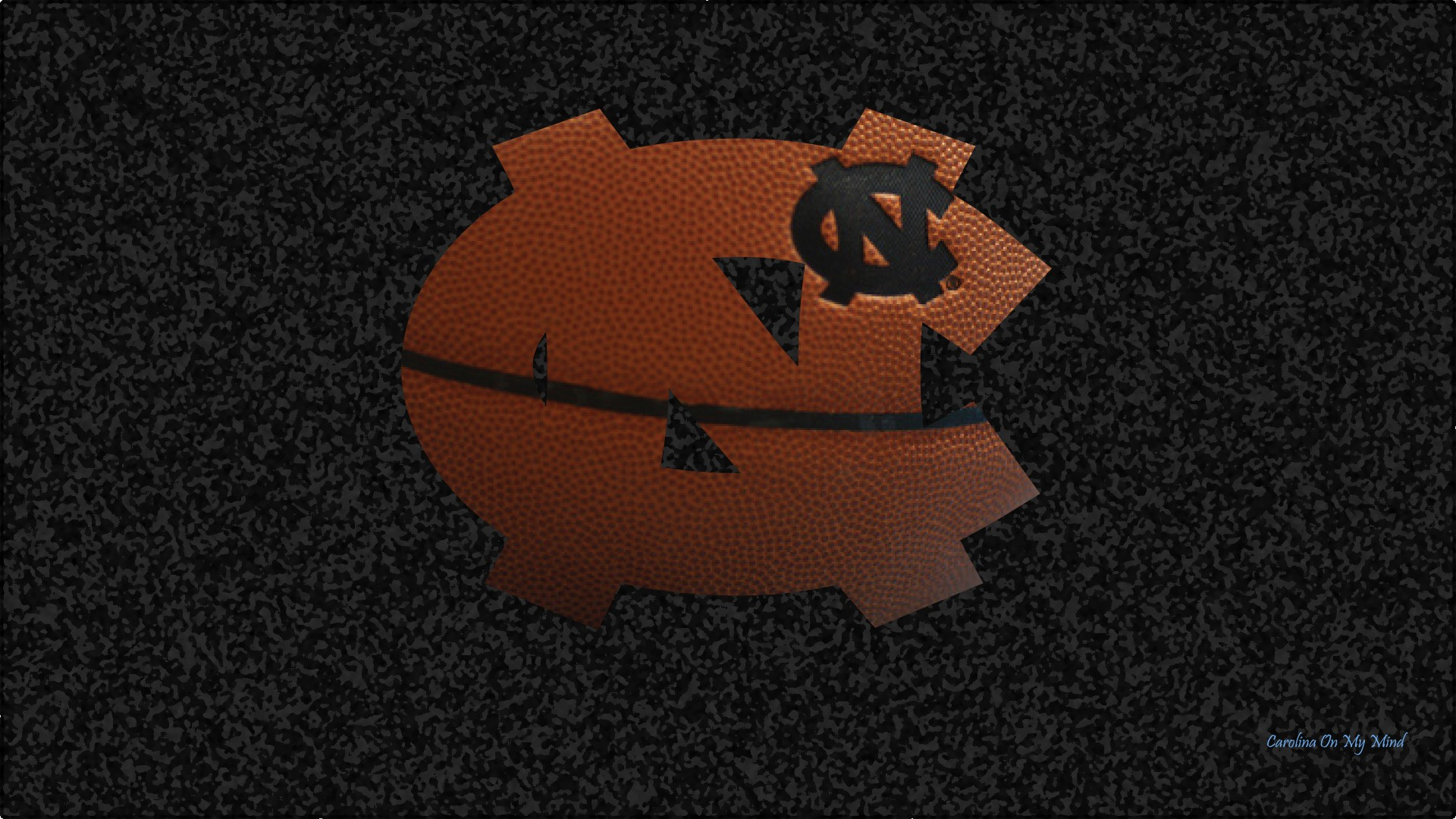 UNC Wallpaper - Basketball Grain NC Logo on Textured Black Background 1920 x 1080
