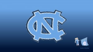 UNC Wallpaper - Glass NC with Rameses and Flag on Blue Gradient 1920 x 1080